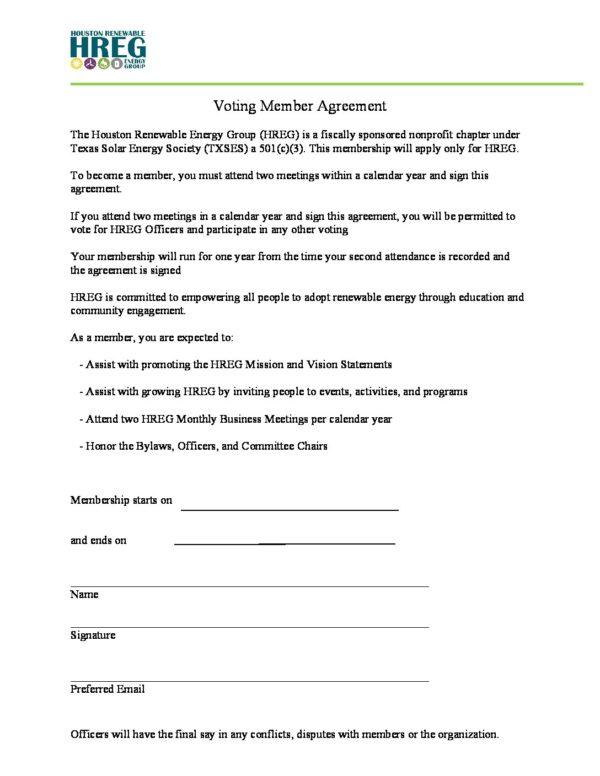 Voting Member Agreement Hreg